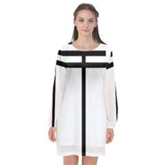 Papal Cross Long Sleeve Chiffon Shift Dress