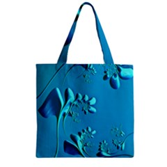 Amazing Floral Fractal A Zipper Grocery Tote Bag by Fractalworld