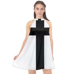 Patriarchal Cross Halter Neckline Chiffon Dress