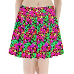 Colorful Leaves Pleated Mini Skirt by Costasonlineshop
