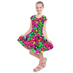 Colorful Leaves Kids  Short Sleeve Dress