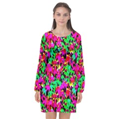 Colorful Leaves Long Sleeve Chiffon Shift Dress