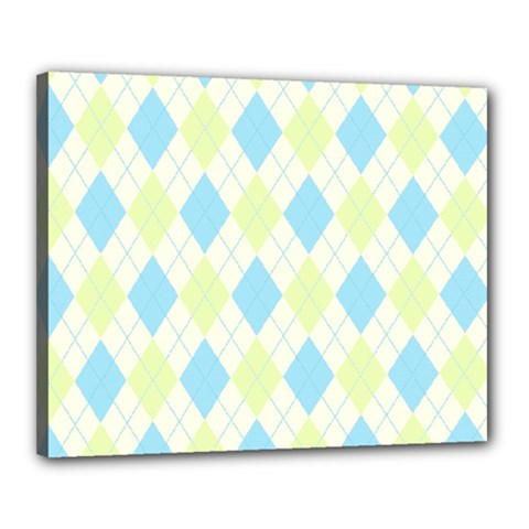 Plaid Pattern Canvas 20  X 16  by Valentinaart