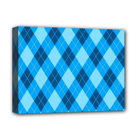 Plaid Pattern Deluxe Canvas 16  X 12   by Valentinaart