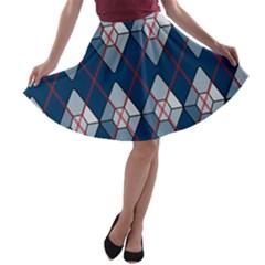 Diamonds And Lasers Argyle  A Line Skater Skirt by emilyzragz
