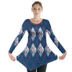 Diamonds And Lasers Argyle  Long Sleeve Tunic  by emilyzragz
