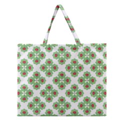 Floral Collage Pattern Zipper Large Tote Bag by dflcprints