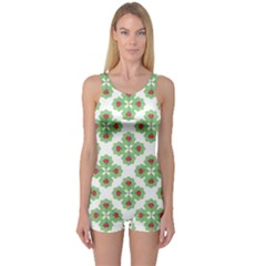 Floral Collage Pattern One Piece Boyleg Swimsuit by dflcprintsclothing