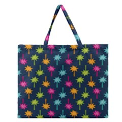 Funny Palm Tree Pattern Zipper Large Tote Bag by tarastyle