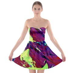 Abstract Painting ,blue,yellow,red,green Strapless Bra Top Dress