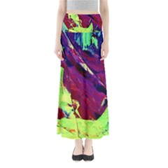 Abstract Painting ,blue,yellow,red,green Maxi Skirts