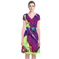 Abstract Painting ,blue,yellow,red,green Short Sleeve Front Wrap Dress