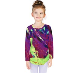Abstract Painting ,blue,yellow,red,green Kids  Long Sleeve Tee by Costasonlineshop