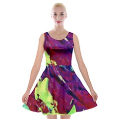 Abstract Painting ,blue,yellow,red,green Velvet Skater Dress by Costasonlineshop