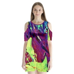 Abstract Painting ,blue,yellow,red,green Shoulder Cutout Velvet  One Piece