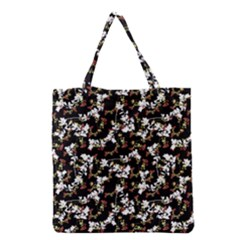 Dark Chinoiserie Floral Collage Pattern Grocery Tote Bag by dflcprints