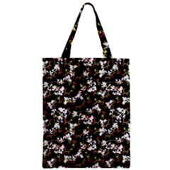 Dark Chinoiserie Floral Collage Pattern Zipper Classic Tote Bag by dflcprints