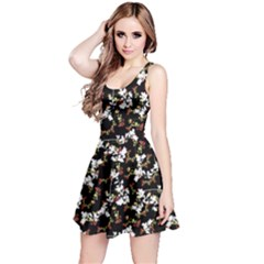 Dark Chinoiserie Floral Collage Pattern Reversible Sleeveless Dress