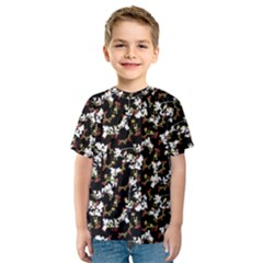 Dark Chinoiserie Floral Collage Pattern Kids  Sport Mesh Tee by dflcprintsclothing