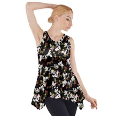 Dark Chinoiserie Floral Collage Pattern Side Drop Tank Tunic by dflcprintsclothing