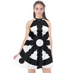 Dharmacakra Halter Neckline Chiffon Dress