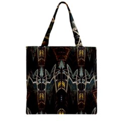 Urban Industrial Rust Grunge Zipper Grocery Tote Bag by CrypticFragmentsDesign