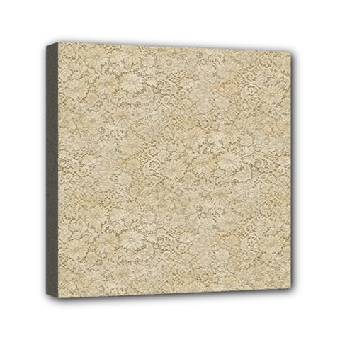 Old Floral Crochet Lace Pattern Beige Bleached Mini Canvas 6  X 6  by EDDArt