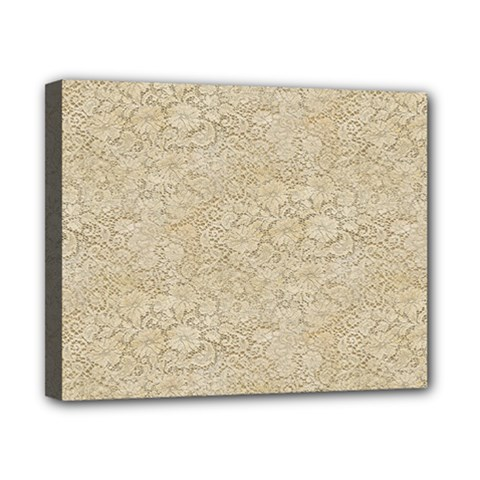 Old Floral Crochet Lace Pattern Beige Bleached Canvas 10  X 8  by EDDArt