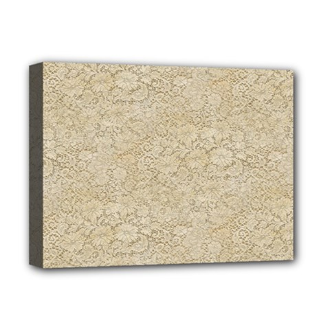 Old Floral Crochet Lace Pattern Beige Bleached Deluxe Canvas 16  X 12   by EDDArt