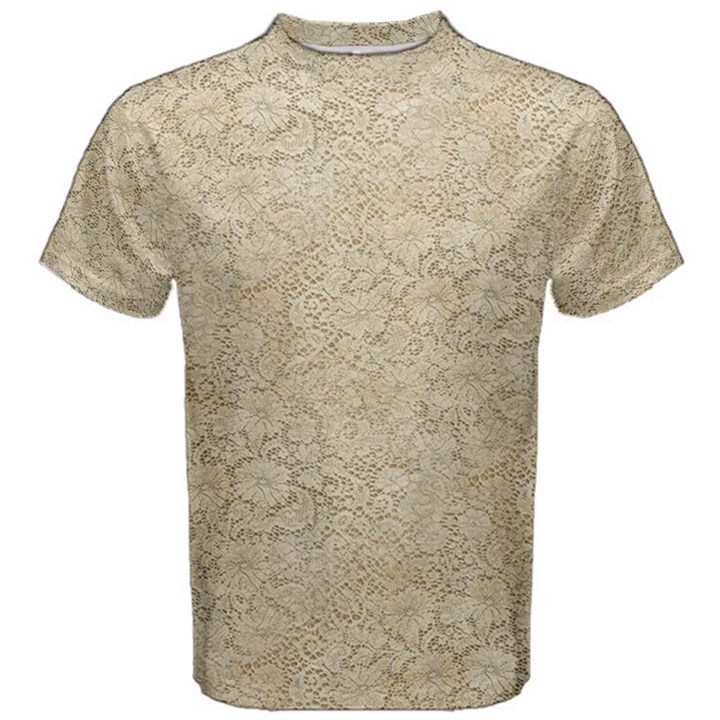 Old Floral Crochet Lace Pattern beige bleached Men s Cotton Tee