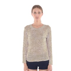 Old Floral Crochet Lace Pattern Beige Bleached Women s Long Sleeve Tee by EDDArt