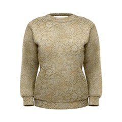 Old Floral Crochet Lace Pattern Beige Bleached Women s Sweatshirt by EDDArt