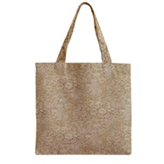 Old Floral Crochet Lace Pattern Beige Bleached Zipper Grocery Tote Bag by EDDArt