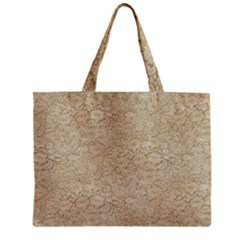 Old Floral Crochet Lace Pattern Beige Bleached Zipper Mini Tote Bag by EDDArt