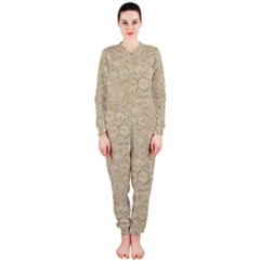 Old Floral Crochet Lace Pattern Beige Bleached Onepiece Jumpsuit (ladies)  by EDDArt