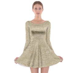 Old Floral Crochet Lace Pattern Beige Bleached Long Sleeve Skater Dress by EDDArt