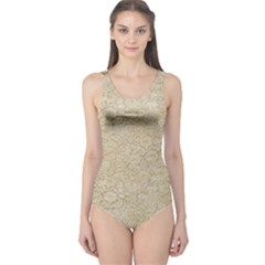Old Floral Crochet Lace Pattern Beige Bleached One Piece Swimsuit by EDDArt