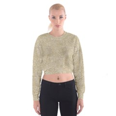Old Floral Crochet Lace Pattern Beige Bleached Cropped Sweatshirt by EDDArt