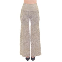 Old Floral Crochet Lace Pattern Beige Bleached Pants by EDDArt