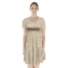 Old Floral Crochet Lace Pattern Beige Bleached Short Sleeve V Neck Flare Dress by EDDArt