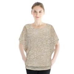 Old Floral Crochet Lace Pattern Beige Bleached Blouse by EDDArt