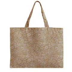 Old Floral Crochet Lace Pattern Beige Bleached Medium Tote Bag by EDDArt