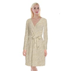 Old Floral Crochet Lace Pattern Beige Bleached Long Sleeve Velvet Front Wrap Dress by EDDArt