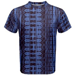 Wrinkly Batik Pattern   Blue Black Men s Cotton Tee by EDDArt