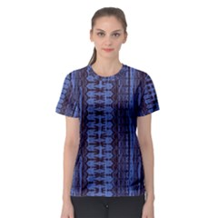 Wrinkly Batik Pattern   Blue Black Women s Sport Mesh Tee by EDDArt