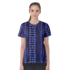Wrinkly Batik Pattern   Blue Black Women s Cotton Tee by EDDArt