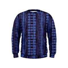 Wrinkly Batik Pattern   Blue Black Kids  Sweatshirt by EDDArt
