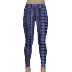 Wrinkly Batik Pattern   Blue Black Classic Yoga Leggings by EDDArt