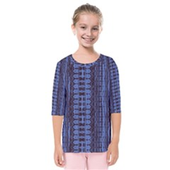 Wrinkly Batik Pattern   Blue Black Kids  Quarter Sleeve Raglan Tee by EDDArt