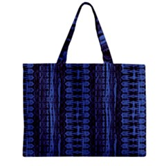 Wrinkly Batik Pattern   Blue Black Zipper Mini Tote Bag by EDDArt
